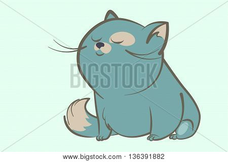 fat blue cat with a bushy tail and a spot on the eye sits and smiles dreamily narrowed eyes. Animal cartoon style vector illustration