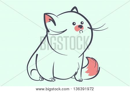 fat blue cat with a little round eyes and bushy tail looking away. Animal cartoon style vector illustration