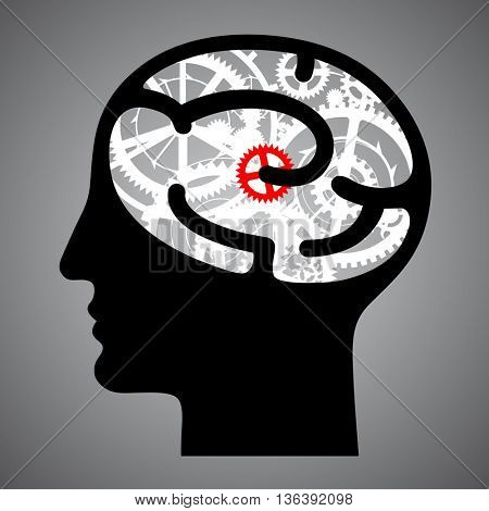 Silhouette human head with brain gears. Techno symbol and business idea concept. Contains the Clipping Path