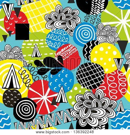 Seamless pattern with hand drawn circles. Creative vector background in modern style.