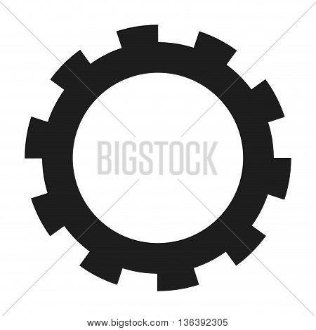 black simple flat design of gear icon vector illustration