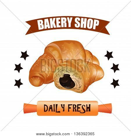 Bakery Shop Label Design Set. Fresh and Tasty Desserts. Daily Fresh. Croissant Ribbons and Stars. Vector Illustration.