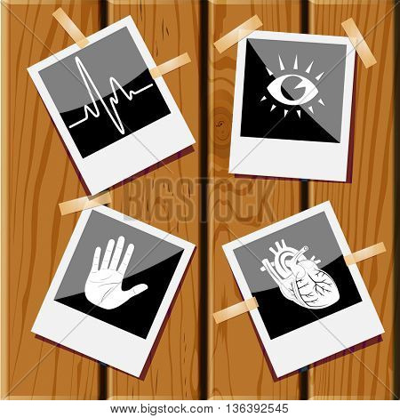 4 images: heart, eye, stop hand, cardiogram. Medical set. Photo frames on wooden desk. Vector icons.