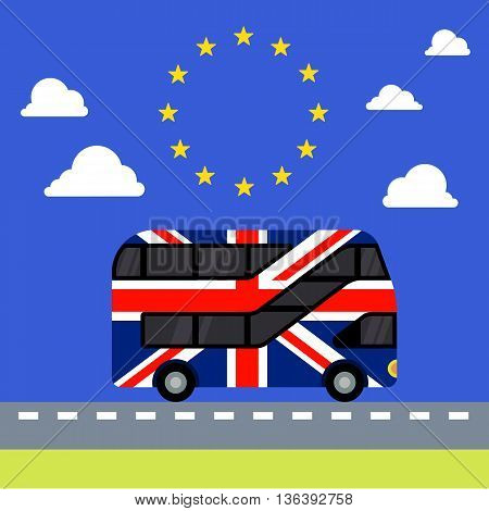 Double-decker bus painted in the United Kingdom flag colors flat color illustration. UK leaves the tunnel painted in the colors of the European Union flag with stars