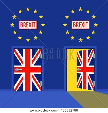 Open and closed exit Doors painted in flag of the United Kingdom color Vector illustration. BrExit text on the plates. Wall painted in EU flag colors with stars.