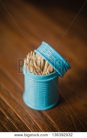 Wooden bamboo toothpick on the  wooden table