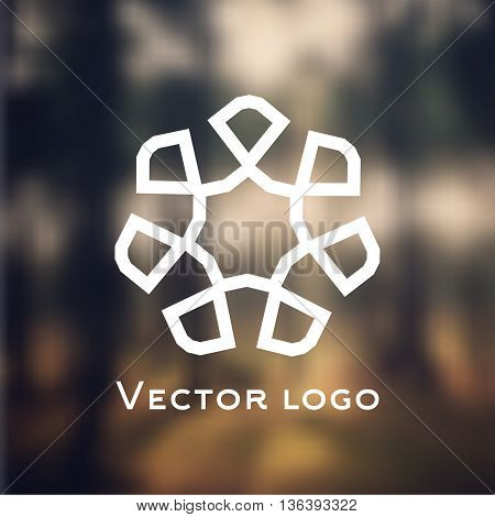 Vector abstract geometric icon logo isolated on blurred background. Web icon