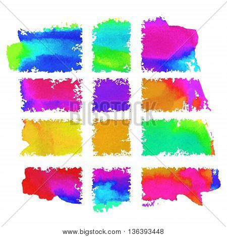 Painted frames. Multicolored watercolor vector banners. Rough edges backdrops set.
