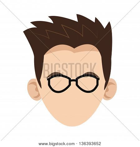 simple flat design head of caucasian man with hair and glasses icon vector illustration
