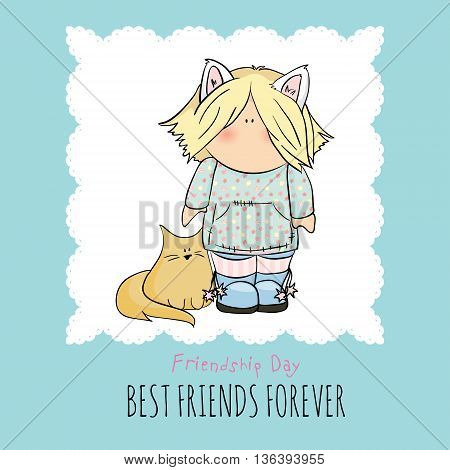 cute girl with cats doodle vector illustration. friendship day. blue background