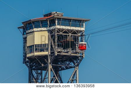 Barcelona Spain - May 26 2015. Torre Sant Sebastia tower of Port Vell Aerial Tramway in Barcelona