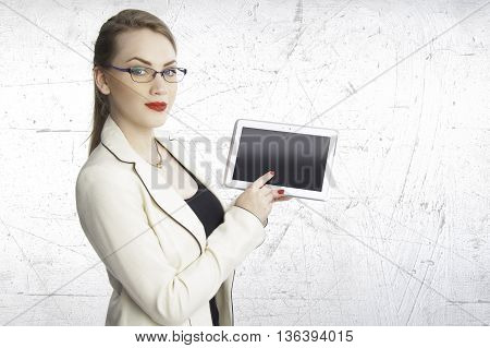 business woman or student concept holding tablet