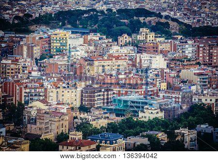 Barcelona Spain - May 27 2015. Buildings seen from Tibidabo mountain