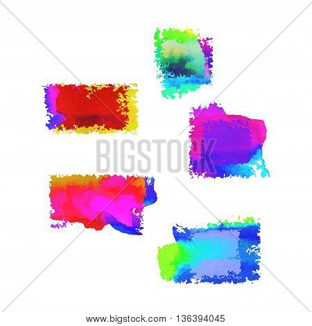 Painted frames with different transparency effects. Multiplay watercolor vector banners. Rough edges backdrops set.