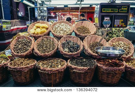 Barcelona Spain - May 28 2015. dried mushrooms for sale at market called La Boqueria foremost tourist landmarks in Barcelona