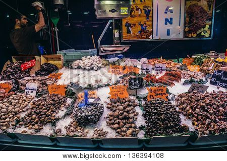 Barcelona Spain - May 28 2015. Man sells seafood at market called La Boqueria foremost tourist landmarks in Barcelona