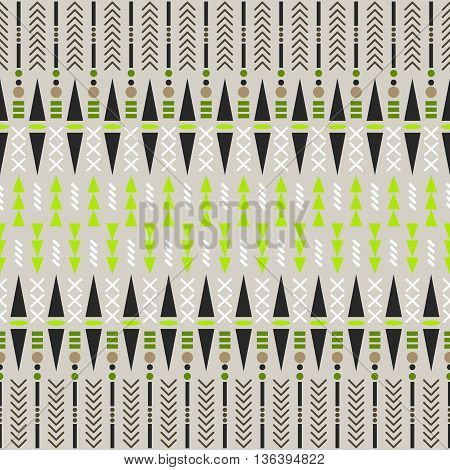 Ethnic seamless vector pattern. Aztec beige and green fabric design with geometric shape elements.