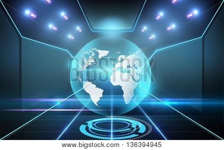 cyberspace, virtual reality, future technology, mass media and communication concept - earth globe hologram over black background and laser light