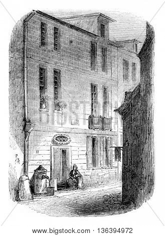 House of Le Havre, birthplace of Bernardin de Saint-Pierre, vintage engraved illustration. Magasin Pittoresque 1852.