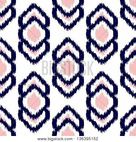 Ikat geometric seamless pattern. Pink and blue colors collection. Indonesian textile fabric tie-dye technique inspiration. Rhombus and drop shapes.