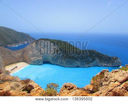 shipwreck blue sea paradise rock water amazing