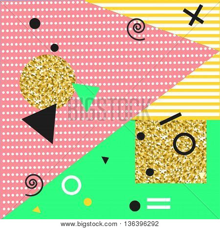 Memphis Style Background Vector Illustration with Geometric Elements. Abstract Design for Textile Poster Cards Cover Fashion.