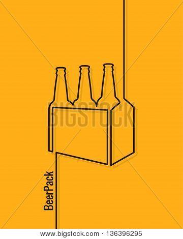 pack of beer bottles line concept design background 10 eps