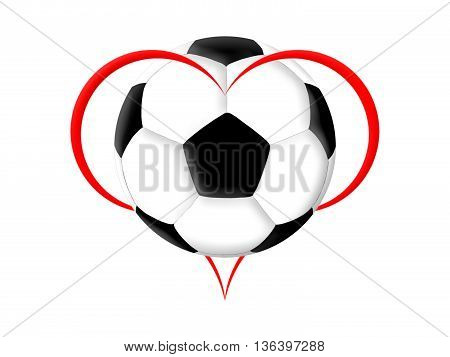 Symbol of the heart and soccer ball on the white background