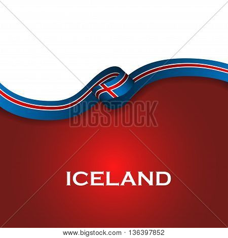 Iceland Sport Style Flag Ribbon Classic Style. Vector Illustration