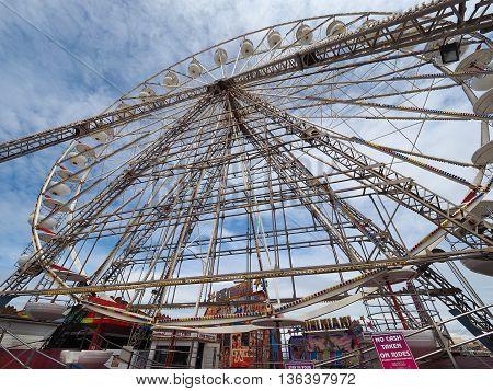 Ferris Wheel On Pleasure Beach Pier In Blackpool
