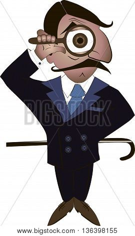 Cartoon illustration of detective, looking at you through magnifier.
