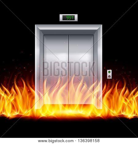 Realistic Metal Modern Elevator with Closed Door in Fire