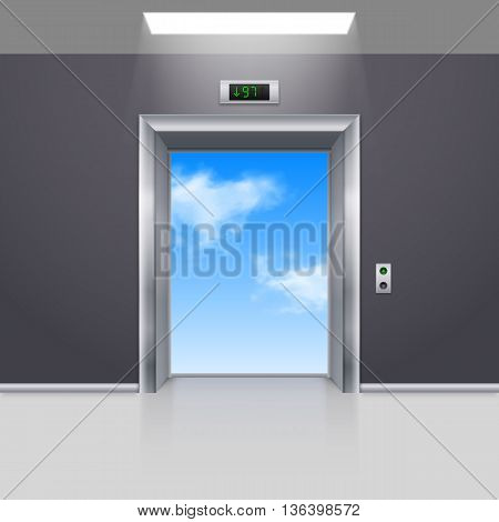 Realistic Empty Modern Elevator to the Blue Sky