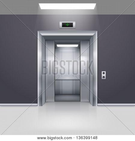 Realistic Empty Elevator with Half Open Door in Lobby