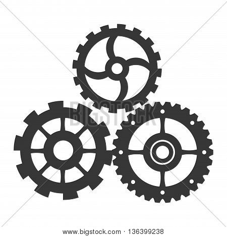 grey simple flat design of three gears icon vector illustration
