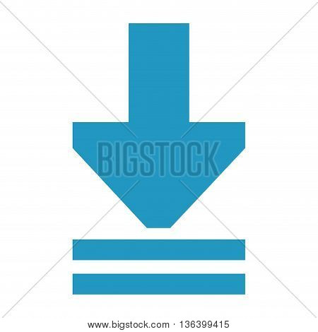 simple flat design blue download arrow icon vector illustration