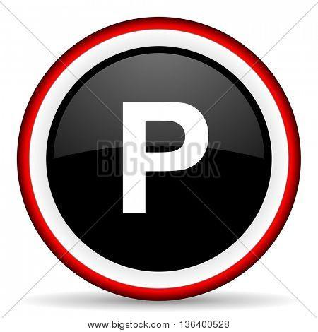 parking round glossy icon, modern design web element