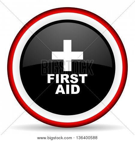 first aid round glossy icon, modern design web element