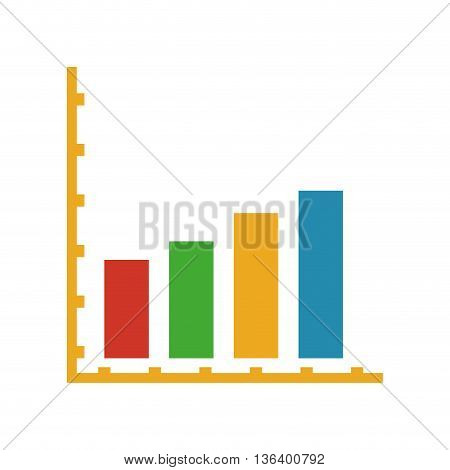 simple flat design colored bar graph icon