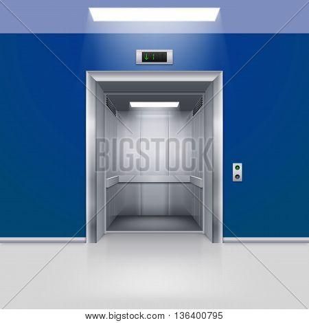 Realistic Empty Modern Elevator with Open Door in Blue Hall