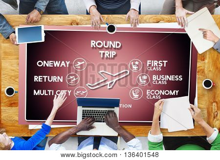Flight Information Selection Tourism Transport Concept