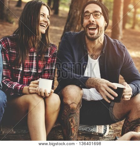 Camping Friendship Talking Coffee Mugs Concept