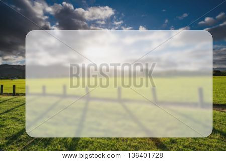 Green grass field, wooden Fence and mountain on horizon at summer morning. American spring sunrise in Denver Colorado USA, Banner Blank Board Message Copy-space Concept