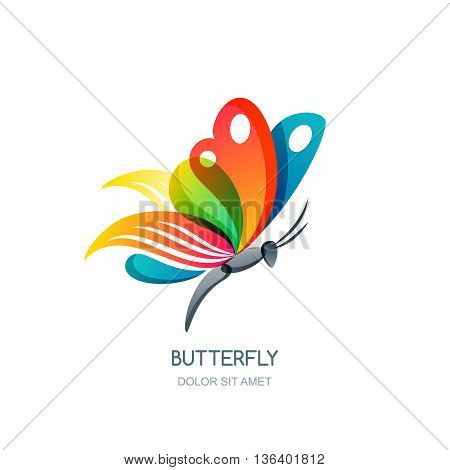 Vector Isolated Illustration Of Colorful Abstract Butterfly. Creative Logo Design Element. Butterfly