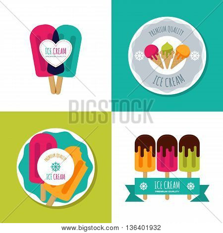 Set of vector ice cream logo label badges or emblems. Modern flat ice cream icons. Summer illustrations. Modern design elements for package prints cafe or ice cream shop.