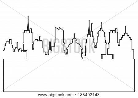 simple black line modern city skyline vector illustration