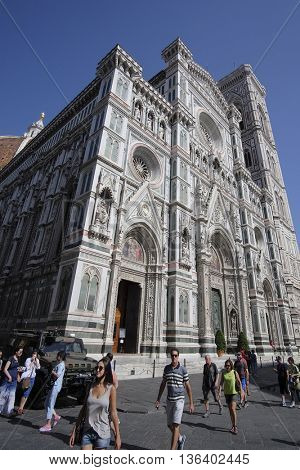 Florence, Italy, June, 25, 2016: cathedral of Santa Maria del Fiore in Florence, Italy