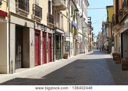 Adria, Italy - June, 29, 2016: pedestrian street in a center of Adria, Italy