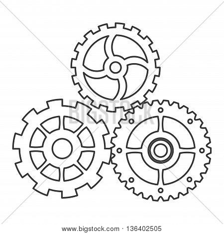 simple black line three gears icon vector illustration