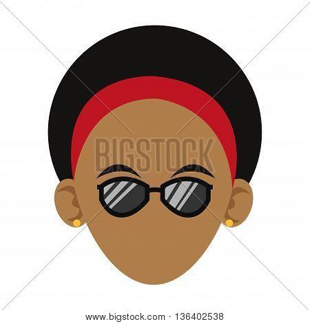 simple flat design head of dark skin woman with headband and sunglasses icon